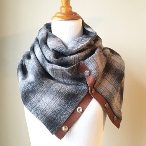 Grey Plaid Infinity Blanket Leather Snap Scarf
