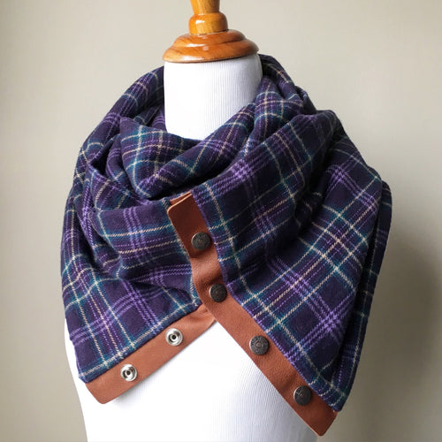 Purple Plaid Infinity Blanket Leather Snap Scarf