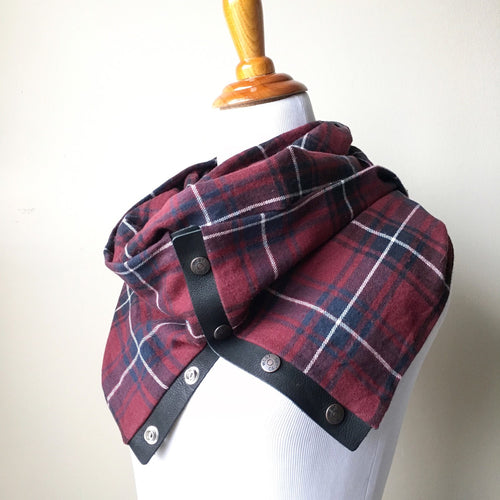 Burgundy Plaid Infinity Blanket Leather Snap Scarf