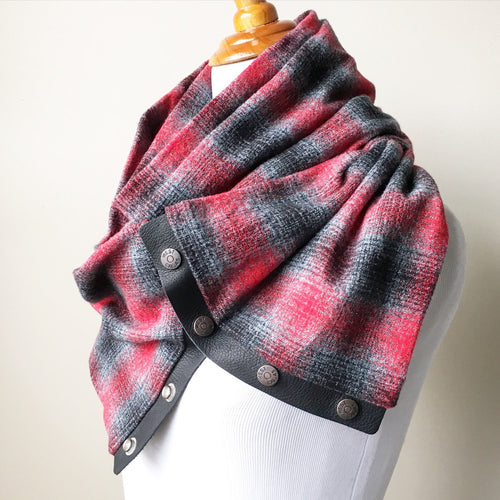 Red/Grey Plaid Infinity Blanket Leather Snap Scarf
