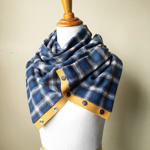 Blue Plaid Infinity Blanket Leather Snap Scarf
