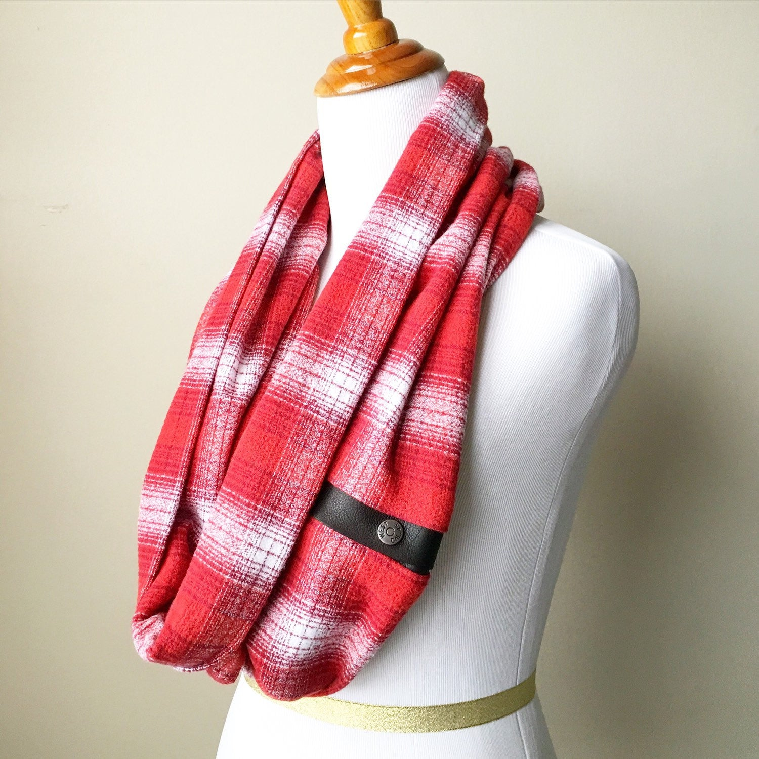 Red Plaid Infinity Blanket Leather Snap Scarf