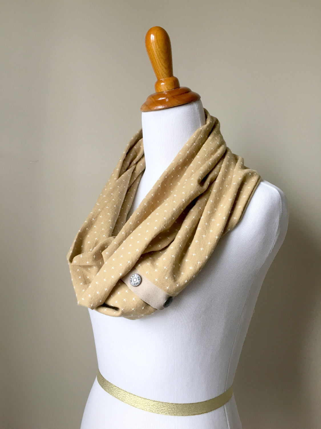 Lightweight Mustard Yellow Cross Hatch Infinity Scarf with Suede Trim