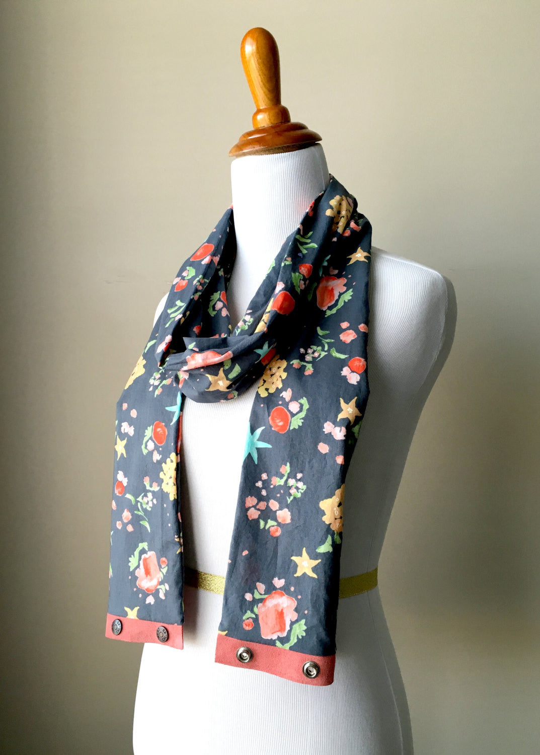 Lightweight Floral Print Infinity Scarf with Suede Snap Trim