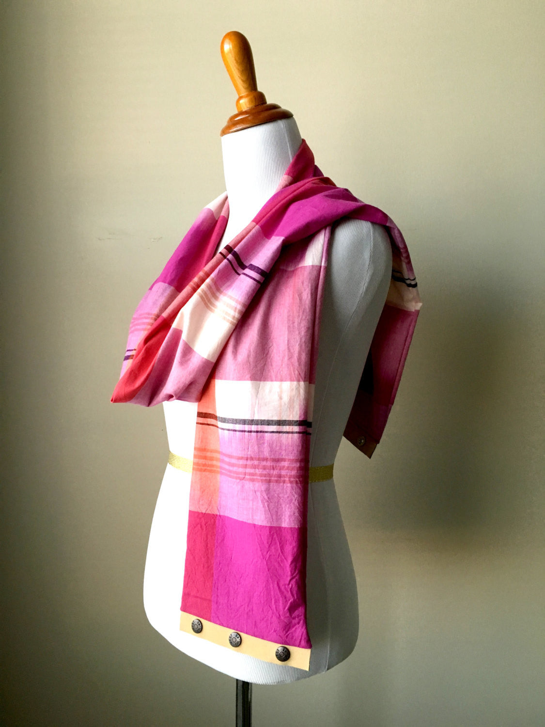 Lightweight Fuchsia Plaid Infinity Scarf with Suede Snap Trim