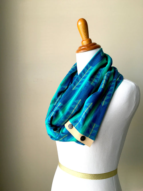 Lightweight Blue & Turquoise Woven Arrow Infinity Scarf with Suede Snap Trim