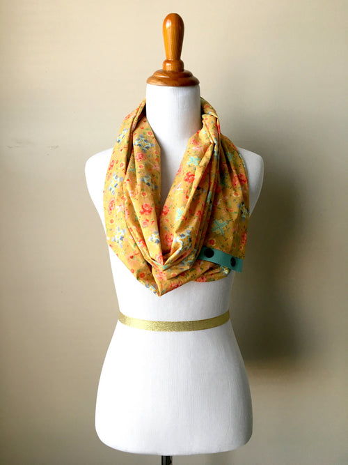 Lightweight Pixelated Floral Infinity Scarf with Leather Snap Trim