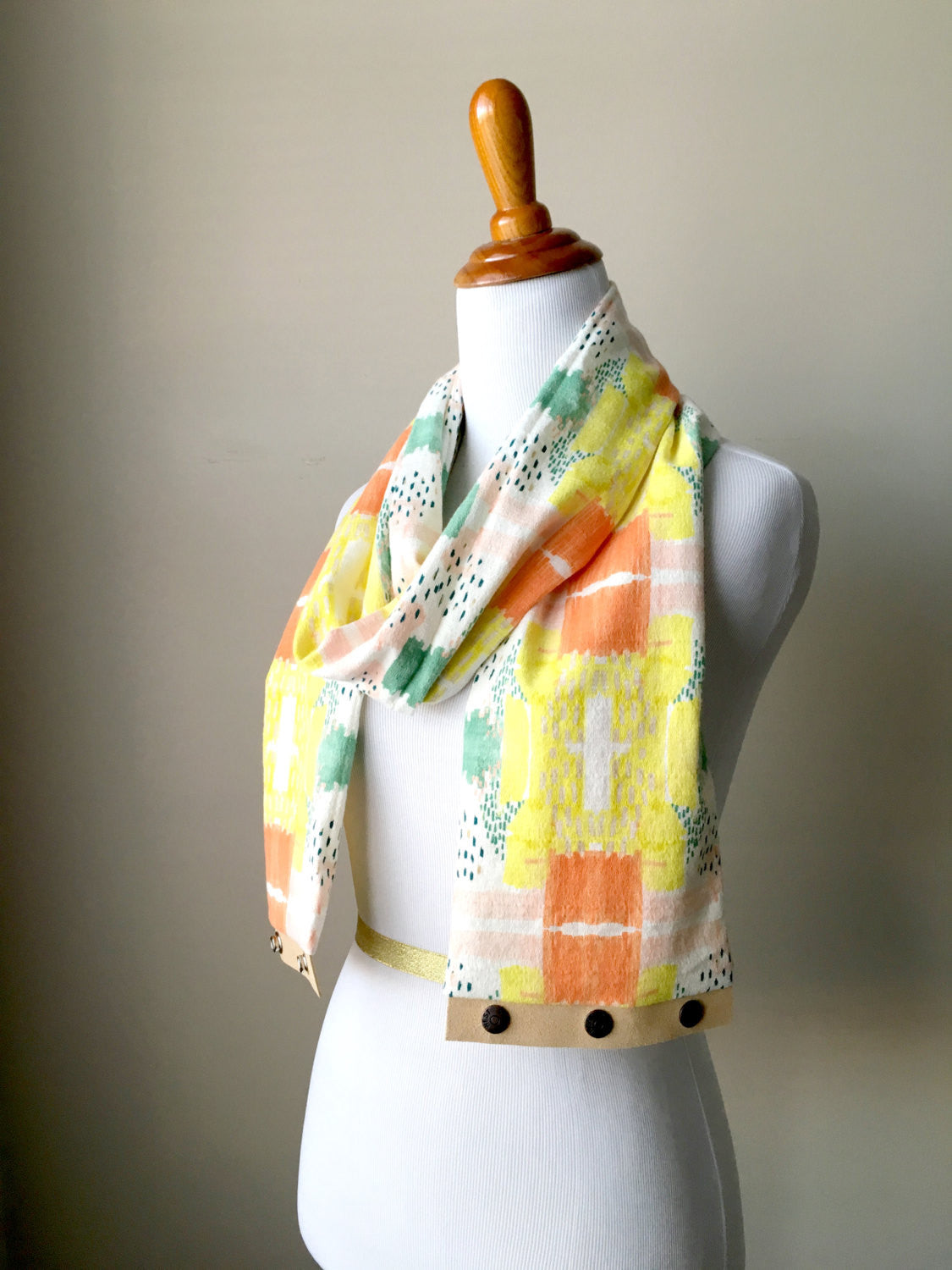 Lightweight Printed Gauze Infinity Scarf with Suede Snap Trim