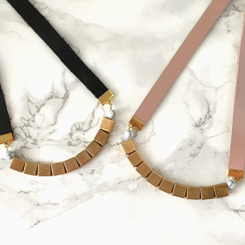 Geometric Square Brass and Leather Necklace
