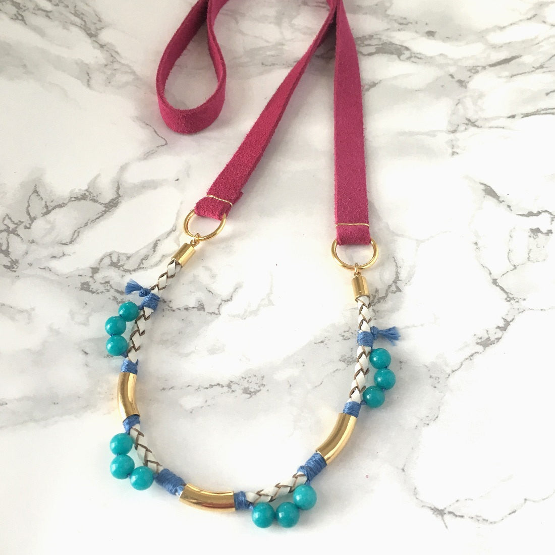 Bold Beaded Long Leather Necklace
