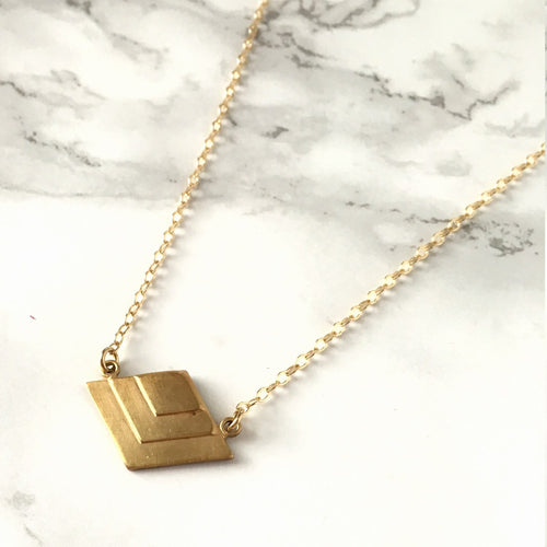 Triangle Pendant Brass Necklace