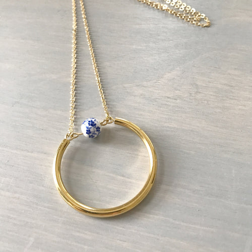 Blue & White Floral Bead Circle Long Necklace