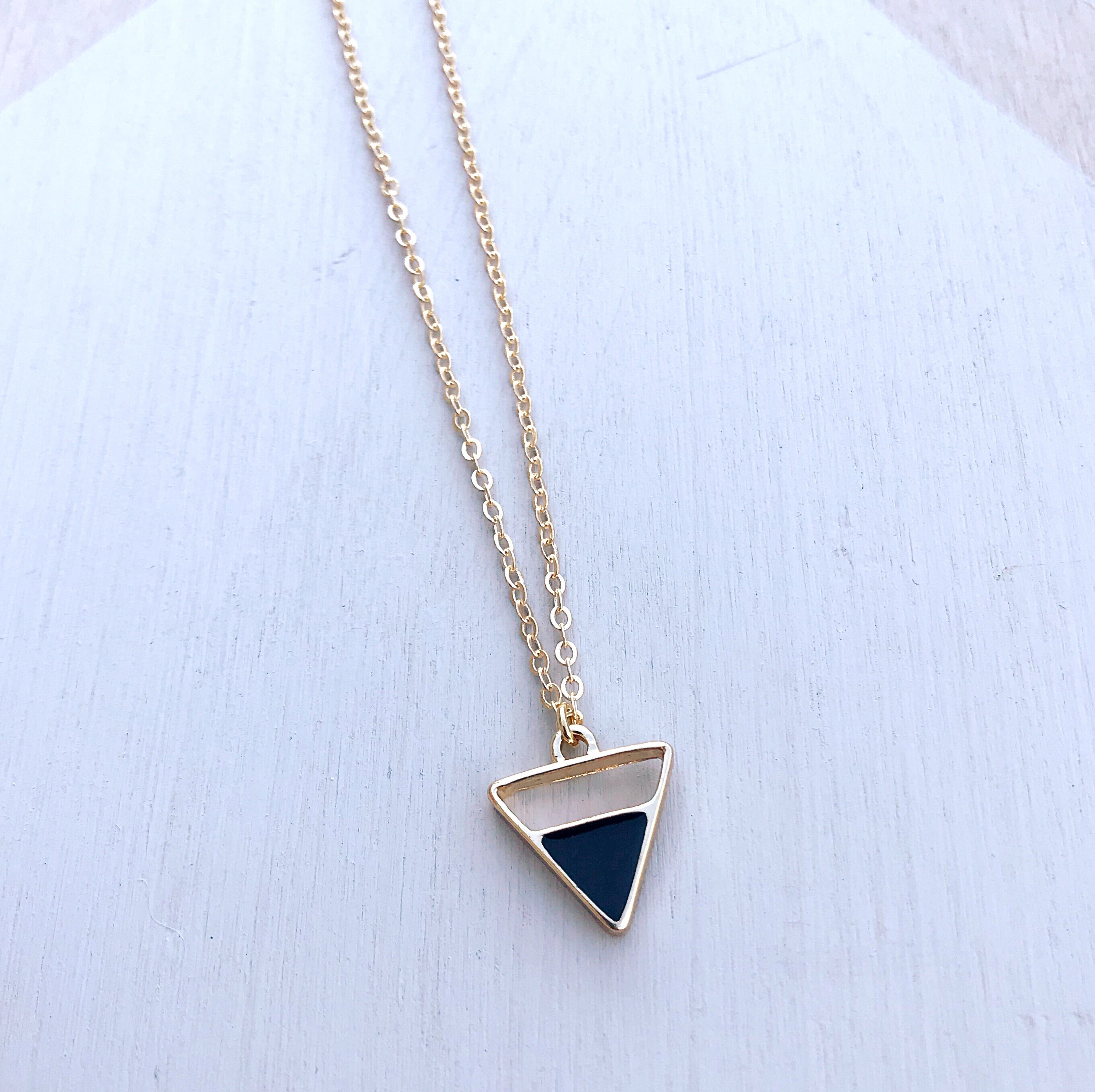 Black Enamel Triangle Pendant Necklace