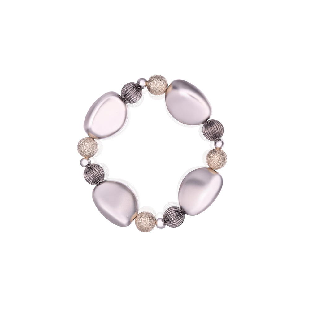 Two Tone Elastic Stretch Stone Bracelet