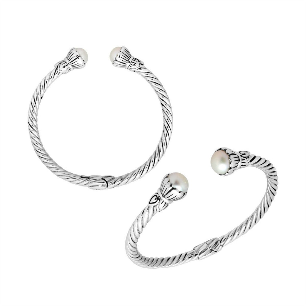 Sterling Silver Hinged Pearl Cuff Bracelet