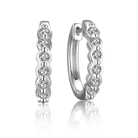 Sterling Silver 1/2 carat TW Hoop Earrings