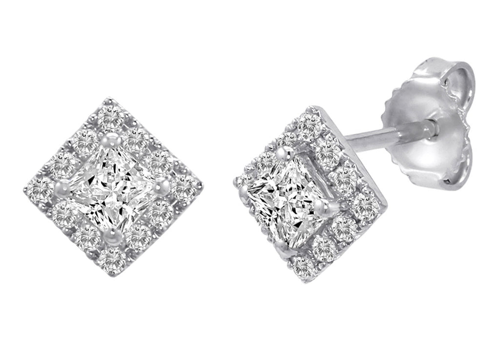Sterling Silver Princess Cut Halo Stud Earrings