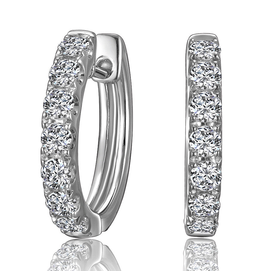 Sterling Silver -3/4 caratTW Hoop Earrings