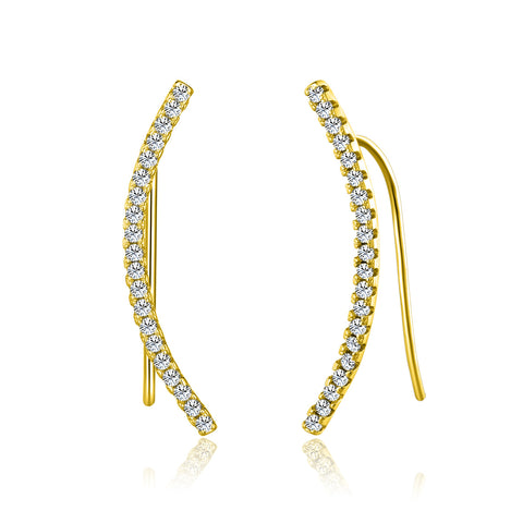 Sterling 925 Curved Bar Earrings