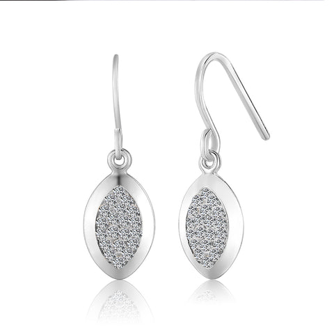 Sterling Silver Marquise Drop Earrings-EAR1500