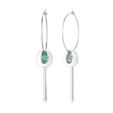 Swarovski Tear Drop Crystal Bar Hoop Earrings