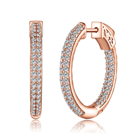 Sterling 925 Pave 22 MM Hoop Earrings