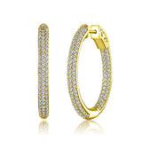 Sterling 925 Pave CZ Oval Hoop Earrings