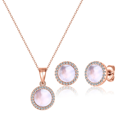 Sterling Silver -Round-Necklace/Earrings Set