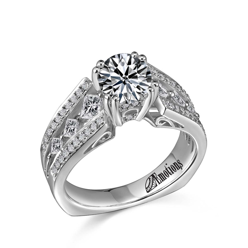 Princess & Round Cut Fancy Engagement Ring