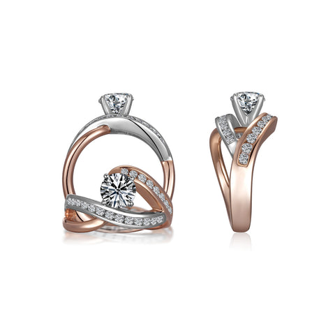 .53 carat TW Round Silver/Rose Gold Engagement Ring-ER9351