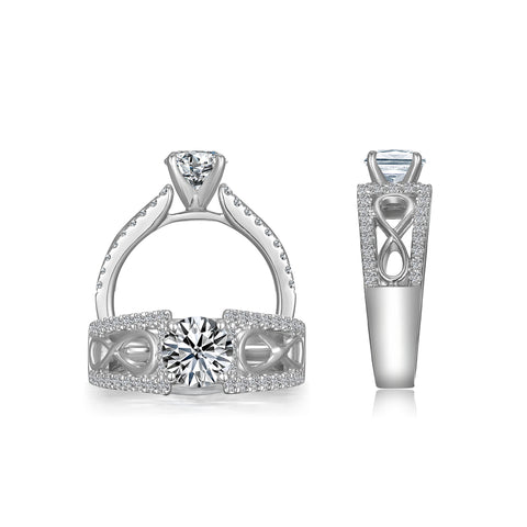 1 Carat Sterling Silver Engagement Ring-ER9352