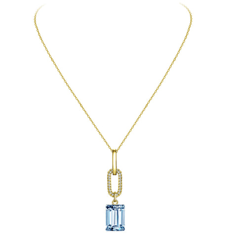 Emerald Cut Drop Crystal Necklace