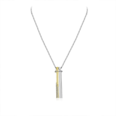 Clear Crystal Two Tone Bar Necklace