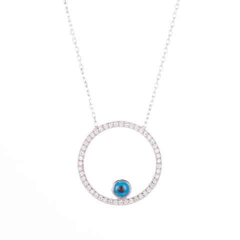 "17"" Sterling Silver Evil Eye Pendant"