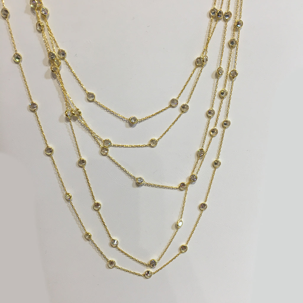 Sterling Silver Gold Multi Strand Necklace