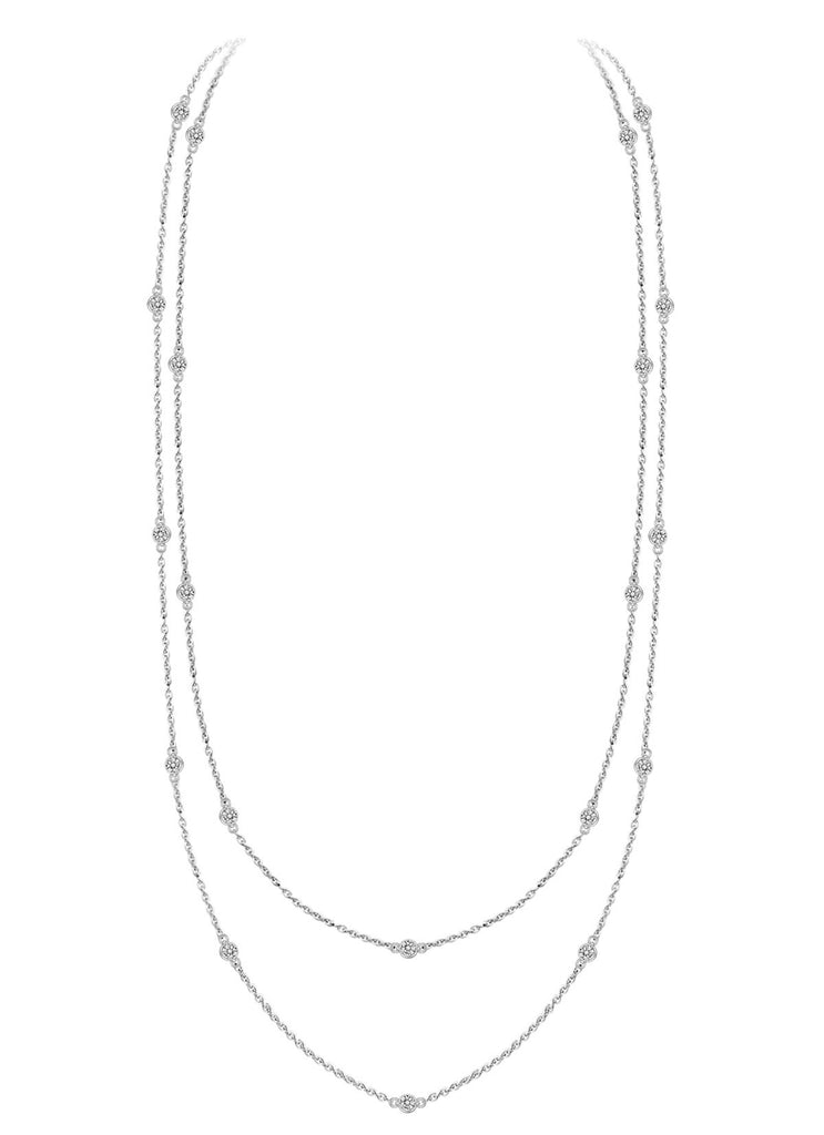 Chain Link Bezel Stone Necklace
