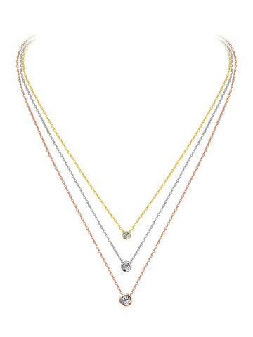 Sterling 925 Triple Strand Solitaire Necklace