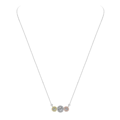 Brilliant Sterling 925 Tri Color Necklace