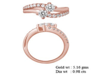 Sterling Silver- Rose Gold 2 Stone Engagement Ring