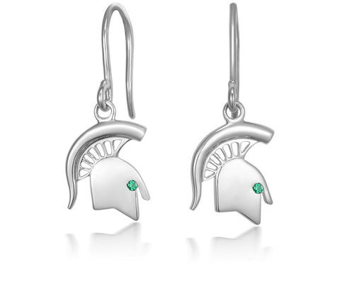 Collegiate Small Spartan Head Dangle Earrings