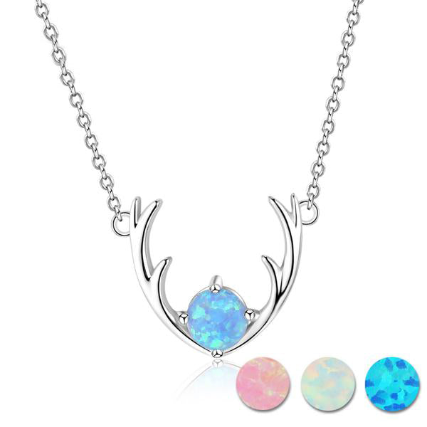 Sterling Silver Elk Deer Antlers Necklace