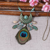 Vintage Bohemian Peacock Feather Pendant