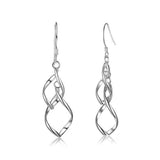 Sterling Silver Twisted Tassel Drop Earrings