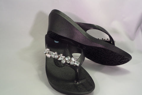 Crystal embellished wedge sandals
