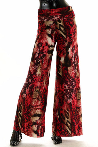 Red Leopard Wide Leg Palazzo Pant