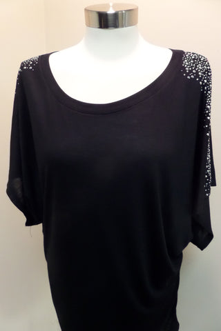 Black Swarovski Crystal Embellished Tunic Top