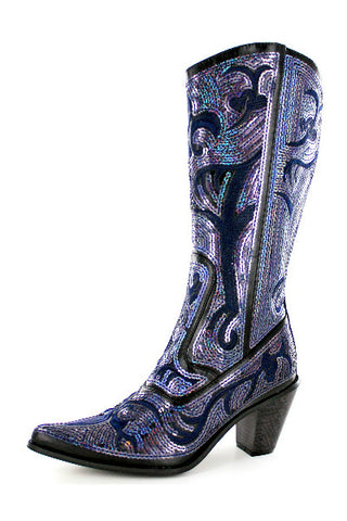 Helen's Heart Blue Black Bling Sparkle Tall Boot.