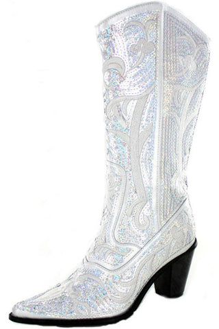 Helen's Heart Silver Bling Sparkle Tall Boot