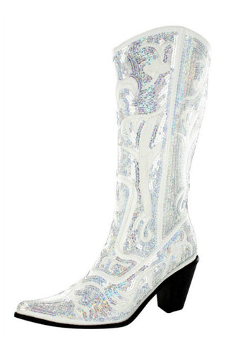 Helen's Heart White Bling Sparkle Tall Boot.