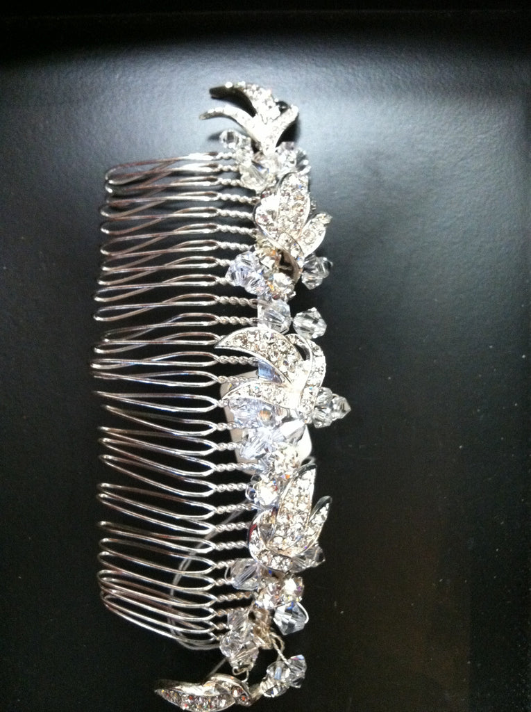Silver crystal wide hair comb